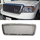 VioGi 1pc Chrome Strong ABS Plastic Badgeless Mesh Style Front Main Upper Grille Fit 04-08 Ford F150 (Except Heritage) [並行輸入品]