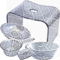 アラベスク・シルバー バスグッズ豪華5点セット モダン&エレガントなアクリル製バスチェア+洗面器(M+Lサイズ)石鹸置き&手桶 風呂いす 風呂イス 風呂椅子
