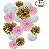 Paper Flower Tissue Pom Poms Baby Shower Party Supplies (goldpinkwhite18pc) [並行輸入品]