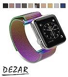 【ディザー】DEZAR Apple Watch iWatch アップル アイ ウォッチ 交換 バンド ベルト ストラップ 網状 メッシュ マグネット クラスプ 式 ステンレス スチル 留め金 製 全 種類 機種 対応 (38mm, 虹(限定色))