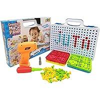 Juta クリエイティブ ツールボックス おもちゃセット 子供用 電子コードレスドリル 150個以上の遊び 組み立てアクセサリー スーツケース付き