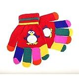 キッズ・ジュニア・子供用 どうぶつのデザイン カラフル アニマルデザイン ウインターマジックグローブ 冬用手袋 (ワンサイズ) (レッド(ペンギン))