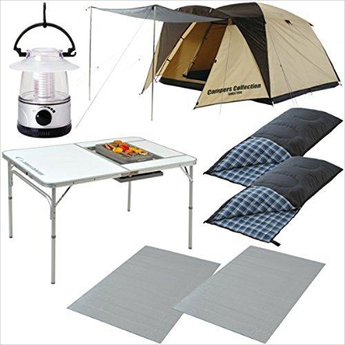 キャンパーズコレクション お買い得キャンプ7点セット(テント+ランタン+寝袋2個+マット2個+テーブル) CSET-1320B