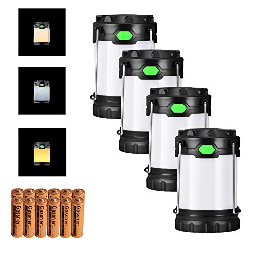 [해외]Antowin 캠핑~ 사냥~ 바비큐 용 AA 또는 AAA 배터리로 구동하는 3 개의 LED 모드 (흰색~ 따뜻한~ 혼합 광)의 4 개의 팩 캠핑 랜턴 (배터리 포함 100 루멘)/Antowin 4 pack camping lanterns (with battery~ 100 lumens) in 3 LED modes (white~ warm...