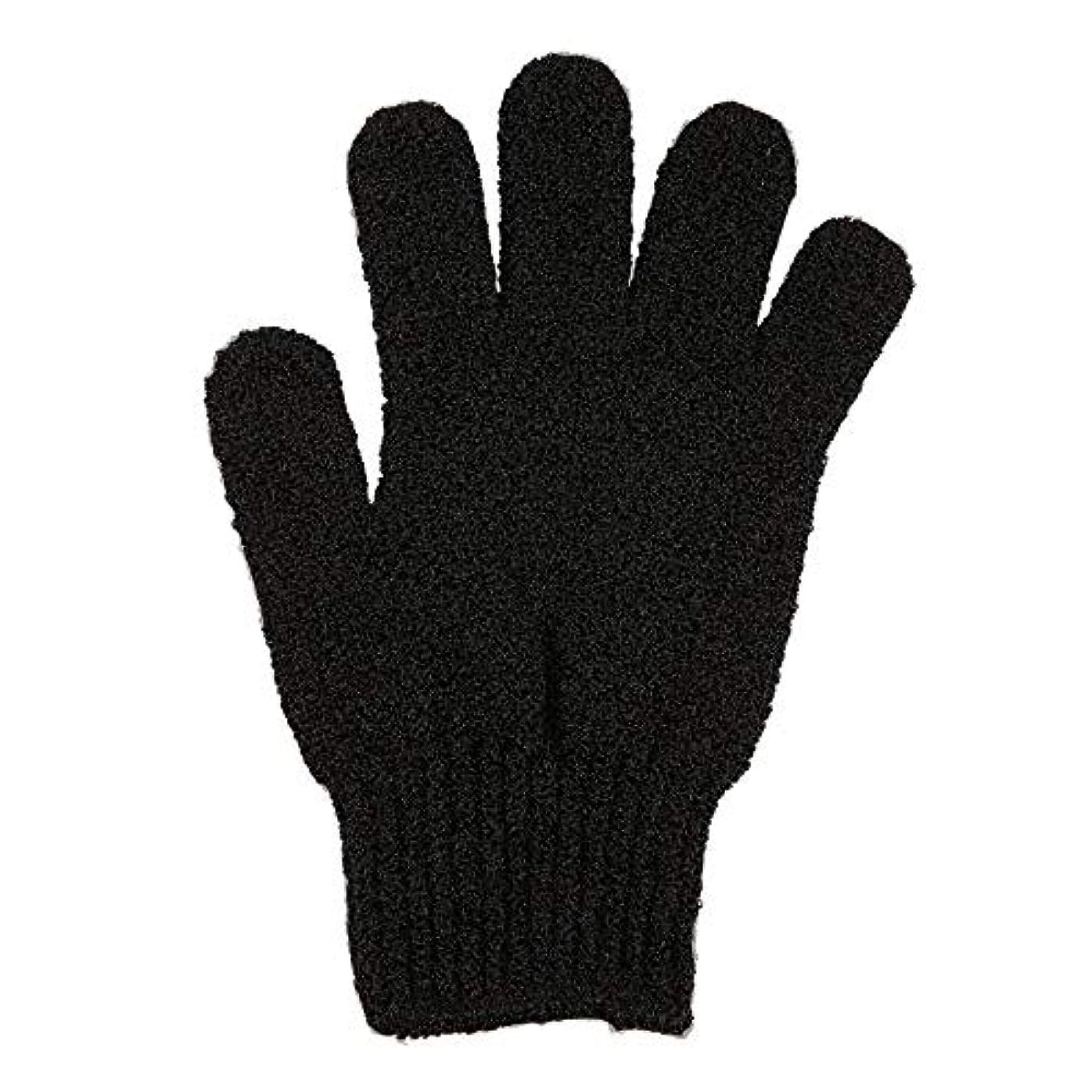 メタンレーダー観光に行く角質除去手袋フルボディスクラブデッドセルソフトスキン血液循環シャワーバススパ剥離アクセサリー(Color:Black)
