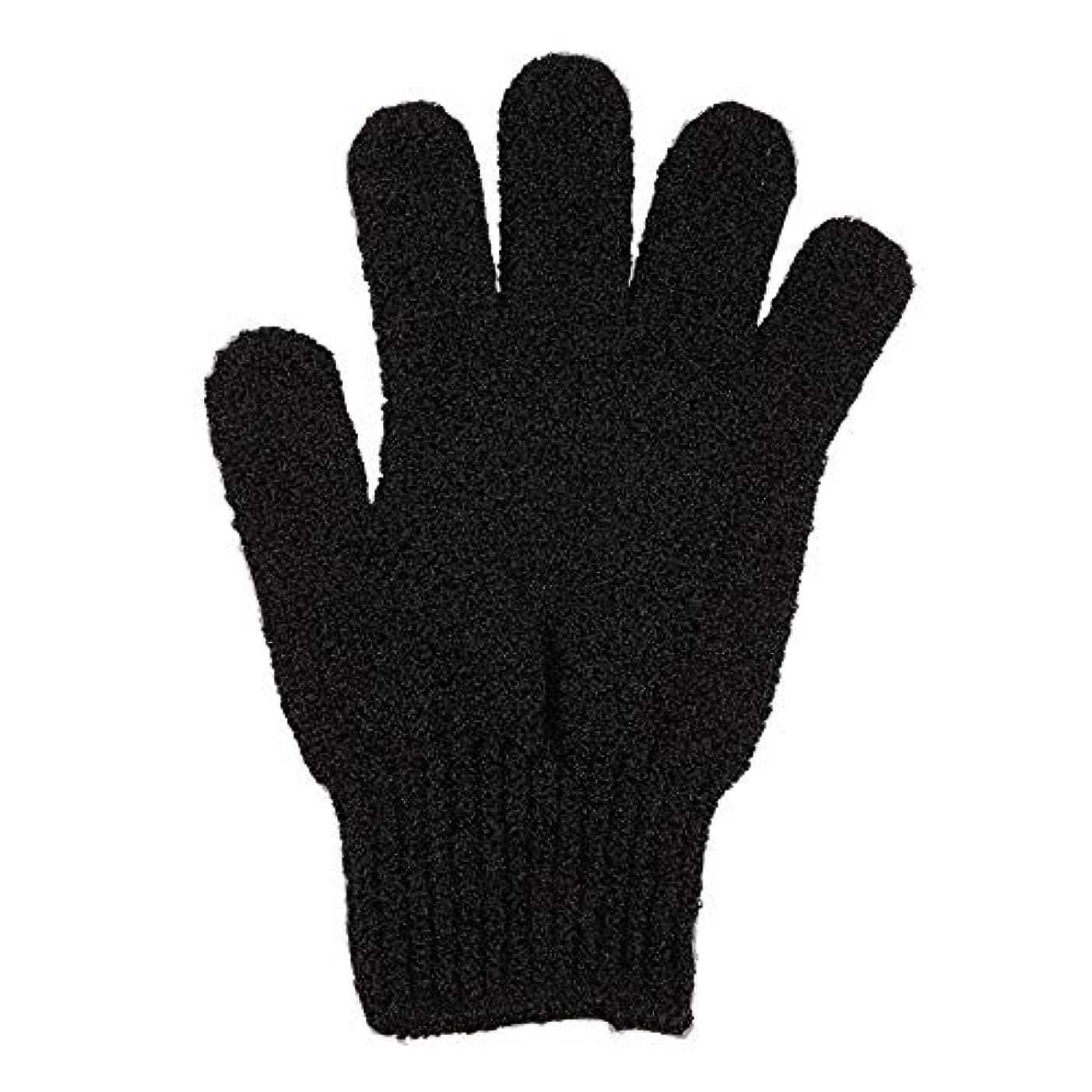 鬼ごっこバイオリニスト爪角質除去手袋フルボディスクラブデッドセルソフトスキン血液循環シャワーバススパ剥離アクセサリー(Color:Black)