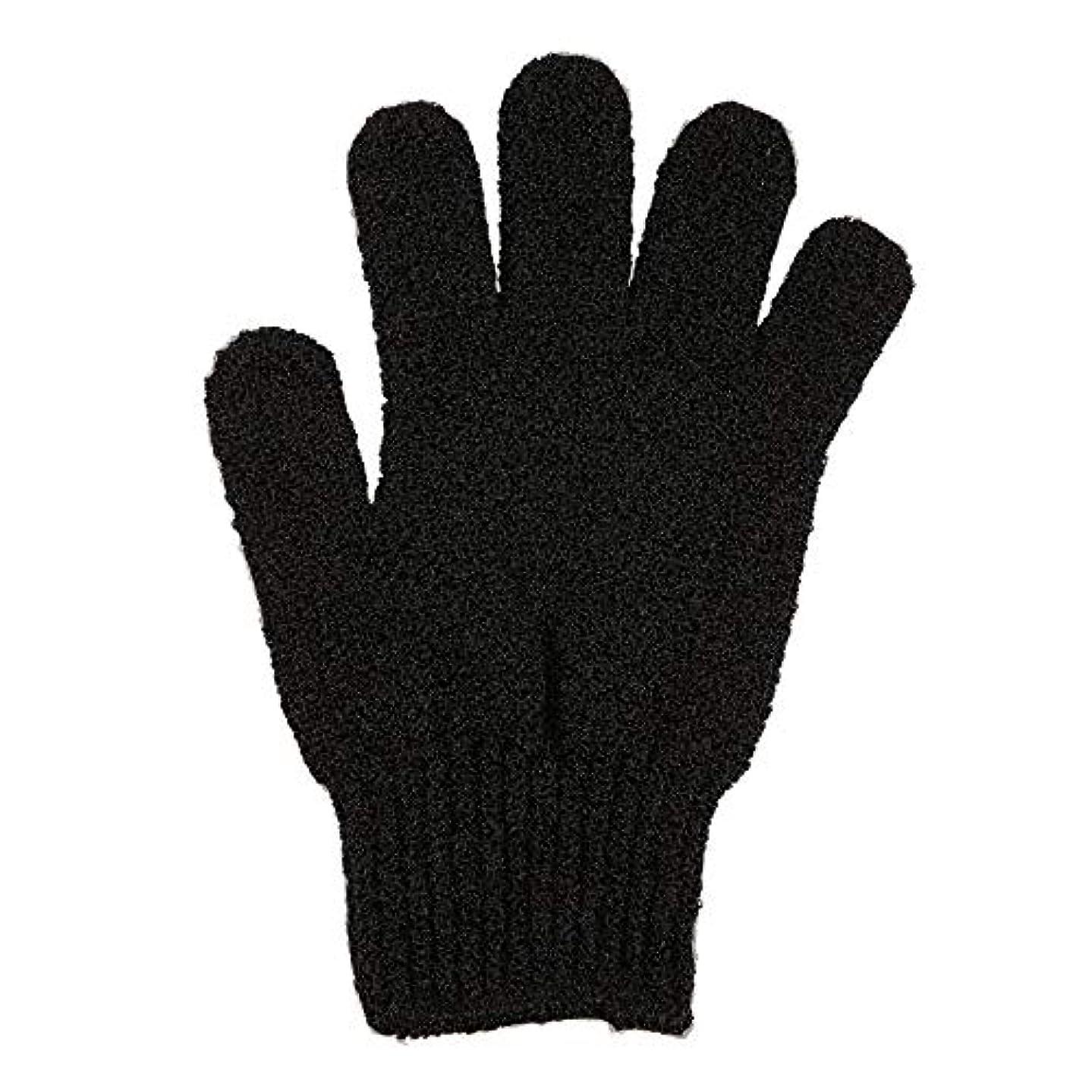 小麦とんでもないハシー角質除去手袋フルボディスクラブデッドセルソフトスキン血液循環シャワーバススパ剥離アクセサリー(Color:Black)