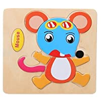 子供の教育玩具世界木製3d 3次元JigsawベビーパズルToys、マウス