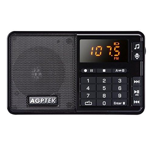 AGPtEK R08 ポータブル FMラジオ MP3プレーヤー 録音/音楽再生機能付き 32GBマイクロSDカードに対応(ブラック)