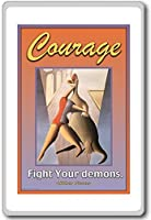 Courage, Fight Your Demons - motivational inspirational quotes fridge magnet - 蜀キ阡オ蠎ォ逕ィ繝槭げ繝阪ャ繝