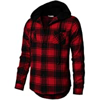 H2H Mens Casual Slim Fit Check Flannel Hoodie Shirt Red US S/Asia M (CMOJA0105)