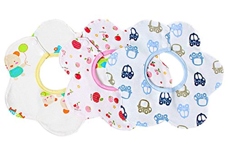 FEOYA 赤ちゃん スタイ 3層 お食事エプロン 柔らかい 綿100% 防水層あり 360度回転 よだれかけ ベビー 花びら型 ビブ 出産祝い 3枚セット