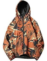 maweisong メンズカジュアル迷彩プリントパーカージャケット軽量ウインドブレーカーコート