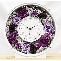 プリザーブドフラワーの花時計 サンクスフラワークロック(丸型 パープルローズ)刻印なし