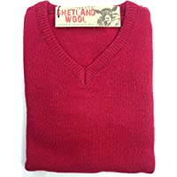 jacksmith Men's Shetland Wool V-Neck Cardigan Sweater Ragg Knitted Jumper Pullover (Small, Red)