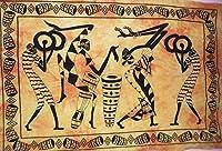 """伝統的なアフリカの部族のダンスウォールポスター、インドの装飾、ボヘミアンの壁掛け、ヒッピーの寮の部屋の装飾、ジプシーの壁のアート、サイズ30""""x40""""、Good Luckポスター"""