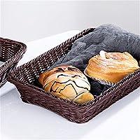 LULAA 収納バスケット 織りバスケット 収納ケース 籐かご 洗える キッチン用 パン お菓子 果物 雑貨 5サイズ