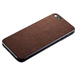 Simplism iPhone 5/5S 用 背面保護 テクスチャーシート エコレザー ブラウン TR-PFIP13-LTBR