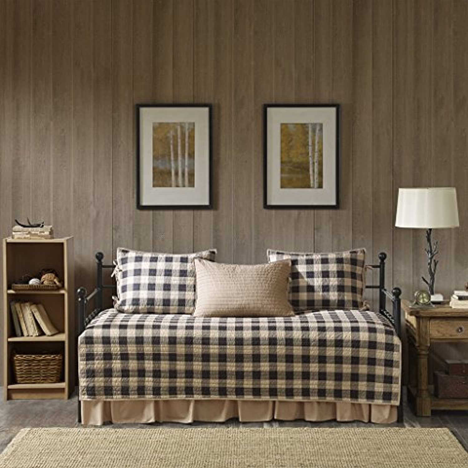 Woolrich Buffalo Check 5 Piece Dayベッドカバーセット Daybed ブラウン