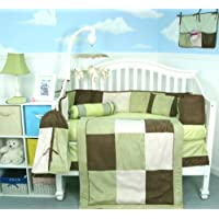 Soho Sage & Brown Suede Baby Crib Nursery Bedding Set 13 pcs included Diaper Bag with Changing Pad & Bottle Case by SoHo Designs