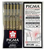 Sakura Pigma Micron pen, Archival pigment ink drawing pens, Assorted tips (005, 01, 03, 05, 08, brush) supplies for artist, zentangle supplies - Manga Basic Set