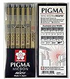 サクラクレパスピグマペン、ドローイングペン、ペン先詰め合わせセット(005、01、03、05、08、ブラシチップ) - マンガ基本セット&スクラップブック用品