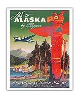 アラスカに飛ぶ - クリッパーの飛行機 - パンアメリカン航空 - トーテムポール - ビンテージな航空会社のポスター によって作成された マーウ・ファン・アレンバーグ c.1947 - アートポスター - 41cm x 51cm