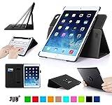 iPad Air2 ケース,Fyy® 高級PUレザーケース スタンド機能付き マグネット開閉式 タッチペンホルダー/伸縮性ハンドストラップ/カードスロット付 360度回転可能 &解体可能タイプ ブラック
