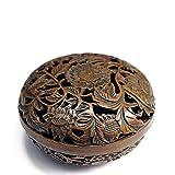 唐草透し彫 ひょうたんお香立て付き 焼朱銅色 銅香炉 w10cm CH-KOR018