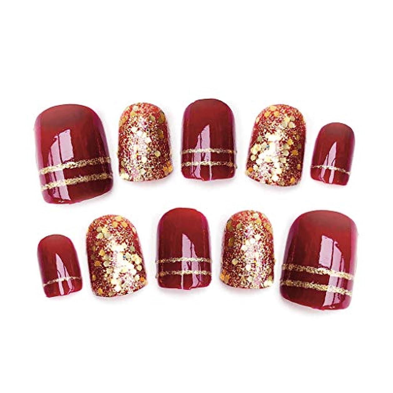 通路できた強風Sharring 24pcs光沢のある赤い偽の指の爪光沢のある花嫁結婚式ショートデザイン偽ネイルアートのヒント [並行輸入品]
