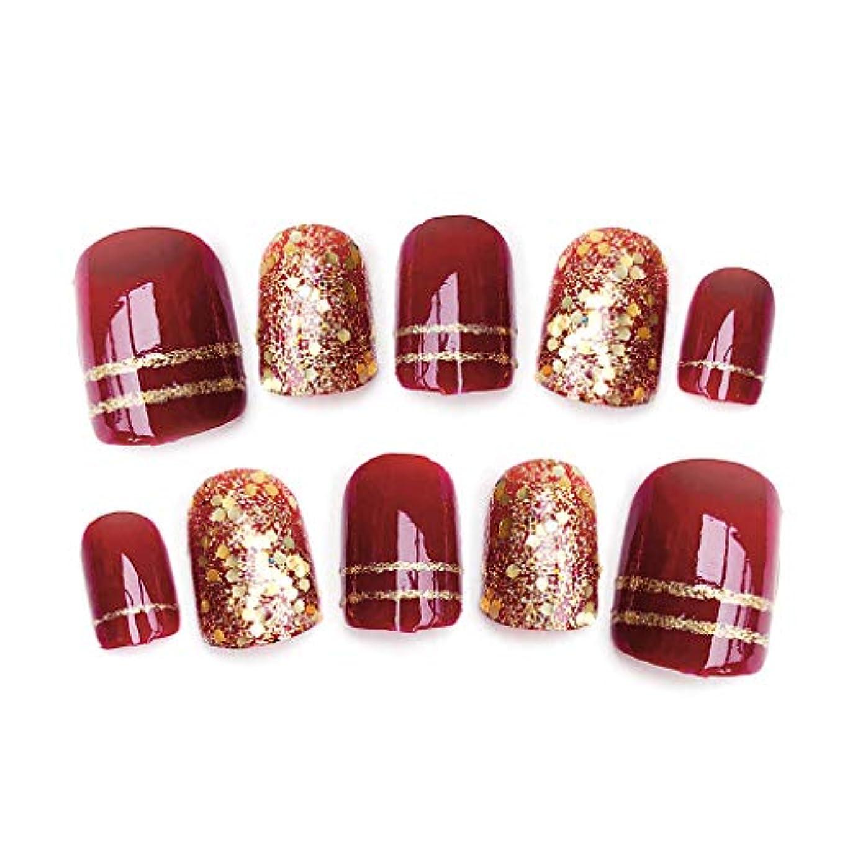 さまよう熟達した評決rousZL ネイルステッカー レース,24ピース光沢のある赤い偽指爪光沢のある花嫁結婚式ショートデザイン偽ネイルアートのヒント