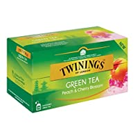 TWININGS (Green Tea, Peach & Cherry Blossom) 緑茶、ピーチ&チェリーブロッサム - 25×4=100個 - 並行輸入品