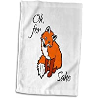 3drose Alexisデザイン–Funny fox–Funny Adorable Smiling Red Fox onホワイト。Oh, for Sake–タオル 15x22 Hand Towel twl_281258_1