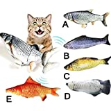 Cat Kicker Fish Toy - Flopping Fish Cat Toy - Cat Wagging Fish Realistic Plush Simulation Electric Doll Fish Plush Toy Interactive Pets Pillow Chew Bite Supplies for Cat/Kitty/Kitten Fish Flop (A)