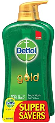 Dettol Gold Daily Clean Twinpack Shower Gel, 950ml (Pack of 2)