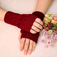 Zoestar Winter Arm Warmers Crochet Knit Fingerless Gloves with Thumb Hole Arm Gloves for Women (Red)