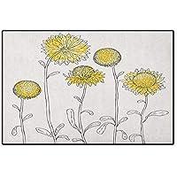 イエローフラワー、ドアマットスモールラグ、繊細な春ミモザパターン描画スタイル素朴な田舎の花、子供用フロアマット、イエローペールグリーン 32