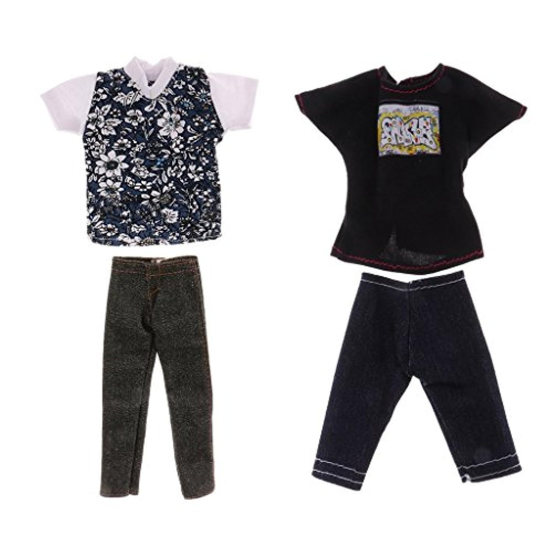 Perfk 12インチバービーケンドール人形のため 服アクセサリー Tシャツ パンツ ズボン ファッション