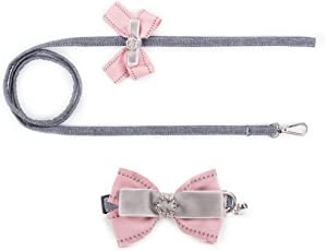 PINCOOL 小型~超小型 犬用ベーシック首輪+犬リード 可愛くて美しい2点セットペットアクセサリー 自由に調節 できる きらきらと光るネックレス 二重蝶結び飾り 鈴付き 2色 2サ(ピンク グレー)