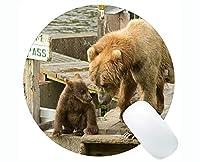 豚丸型マウスパッドファーム動物、コディアックヒグマゲーミングとオフィス用の快適なマウスマット-(豚)