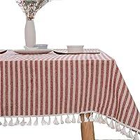 Bringsineヴィンテージテーブルクロスリネン長方形洗濯可能ディナーピクニックテーブルクロス、各種サイズ Square, 55 x 55Inch Bring-180514