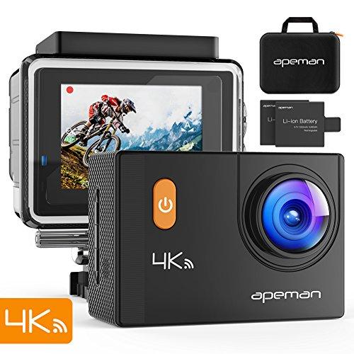 APEMAN アクションカメラ 4K WIFI搭載 2000万画素 UHD 2インチLCD 画角調整可170度広角 30m防水 手ブレ補正 HDMI出力 スポーツカメラ バイク/自転車/車に取り付け可能 アクセサリー多数 専用ケース 1050mAhバッテリー×2 ウェアラブル アクションカム (ブラック)