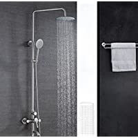 YYF-SHOWER 性格のバスルーム 304ステンレス鋼 1.5mホース シャワーアクセサリー、 壁掛け式 8インチ スプレーラウンドのトップ 滝 シャワーセット、 ハンドシャワー 回転する シングルハンドル ワンボタン3つのコントロール 冷たいお湯 3ホールマウント (色 : シルバー しるば゜)
