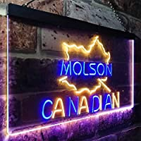 Molson Canadian Beer Bar LED看板 ネオンサイン バーライト 電飾 ビールバー 広告用標識 ブルー+イエロー W40cm x H30cm