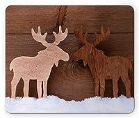 ムースマウスパッドによって、異なる色調の木材エルクフィギュアロマンチックノエルタイムロマンスジョイビンテージスタイル、標準サイズ長方形滑り止めラバーマウスパッド、ブラウンとタン