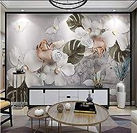 Lcymt 三次元白四花弁真珠の花の壁プロの生産壁画壁紙壁画カスタム写真壁-150X120Cm