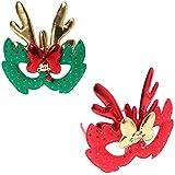 BESTOYARD エルククリスマスコスチュームマスク布マスク子供大人コスプレクリスマスパーティー2個