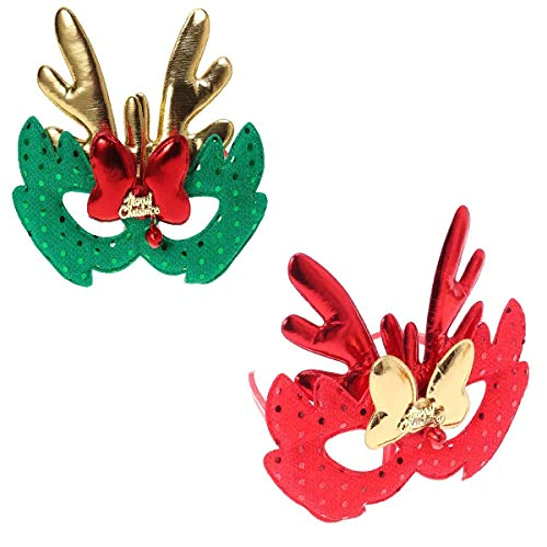 テスピアン相反するバクテリアBESTOYARD エルククリスマスコスチュームマスク布マスク子供大人コスプレクリスマスパーティー2個