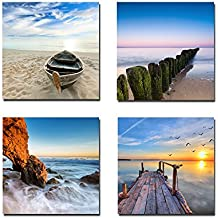 Wieco Art - Seaview Modern Seascape Giclee Canvas Prints Artwork Contemporary Landscape Sea Beach Pictures to Photo Paintings on Canvas Wall Art for Home Decorations Wall Decor 4pcs/set