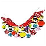 夏祭り装飾 花火提灯お祭りプリーツハンガー L180cm / 飾り ディスプレイ ちょうちん  7626